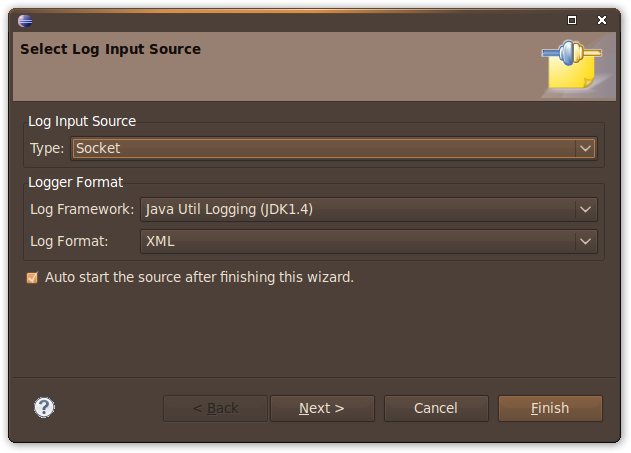 Picture of Select Log Input Source Wizard (Page1)